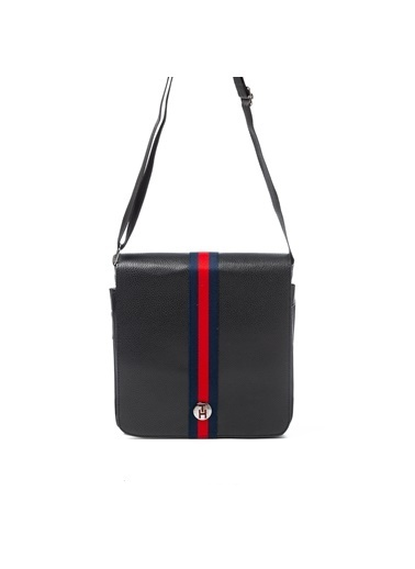 TH Bags TH Bags Fermuarlı Suni Deri Postacı Çantası Siyah